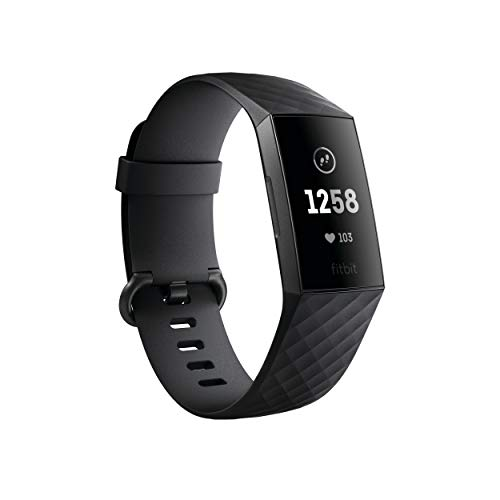 Fitbit Charge 3 Fitness Activity Tracker, Graphite/Black, One Size (S and L Bands Included)