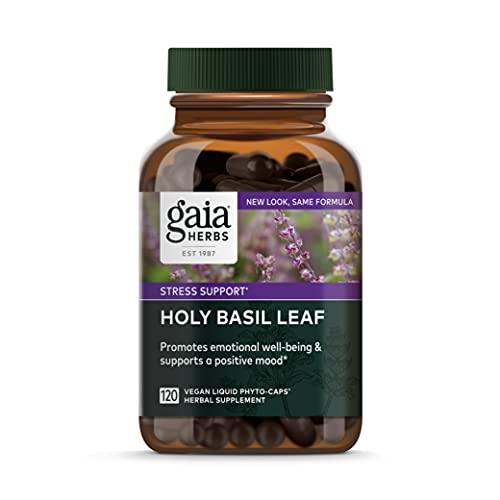 Gaia Herbs, Holy Basil Leaf, Stress Support, Adaptogenic Ayurvedic Herb, Tulsi Extract, Vegan Liquid Capsules, 120 Count