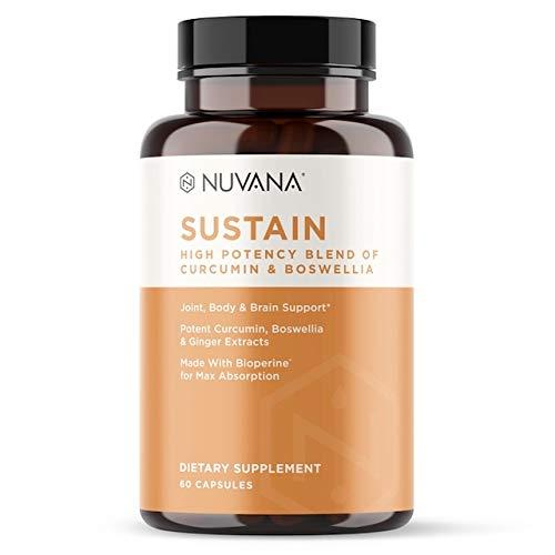 Sustain Turmeric Curcumin, Boswellia & Ginger with BioPerine | Pain Relief, Joint Support, Anti-Inflammatory, Antioxidant Supplement with 95% Standardized Curcuminoids - 60 Vegan Capsules