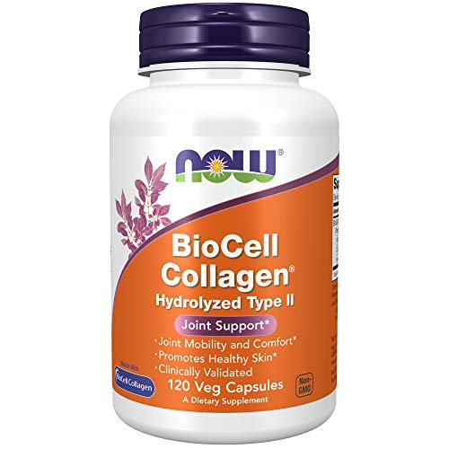 NOW Supplements, BioCell Collagen Hydrolyzed Type II, Clinically Validated, 120 Veg Capsules