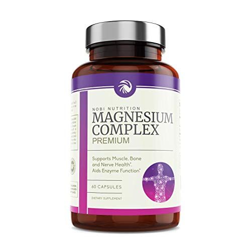 Nobi Nutrition High Absorption Magnesium Complex - Premium Magnesium Supplement for Sleep, Leg Cramps, Muscle Relaxation & Recovery - for Women & Men - 60 Vegan Capsules