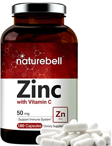 Zinc 50mg (Zinc Supplement with Vitamin C), 180 Capsules, Best Zinc Vitamin and Immune Vitamins, Support Immune System and Antioxidant, Non-GMO and Made in USA
