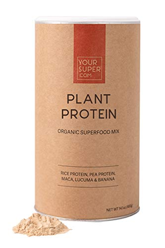 Your Super Plant Protein Superfood Mix - Plant Based Protein Powder, Workout Recovery, Non-GMO, Organic Rice Protein, Pea Protein, Maca, Lucuma, Banana Powder - 14.1 Ounces, 26 Servings