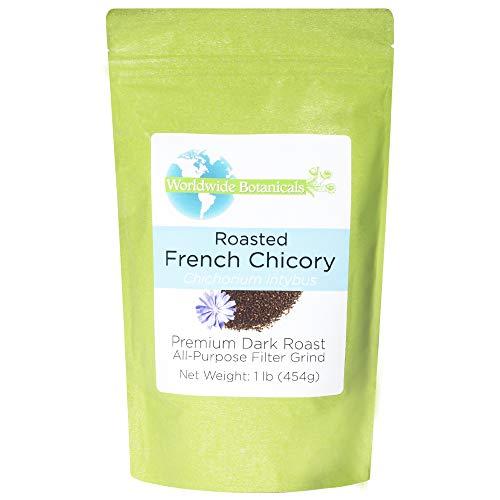Worldwide Botanicals French Chicory Root - Dark Roast – Brew Like Coffee, Blend Roasted Chicory Root With Coffee, Prebiotic Coffee Alternative, Acid Free, Caffeine Free, Kosher, 1 Pound