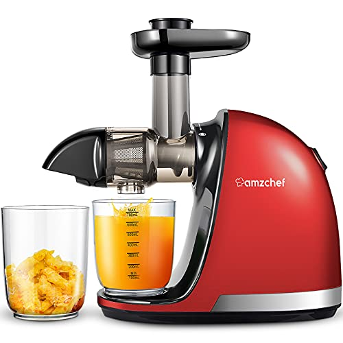 Slow Juicer Extractor, AMZCHEF Professional Slow Juicer Machine with Quiet Motor, Juicer with Reverse Function, Cold Press Juicer Easy to Clean with Brush for High Nutrient Fruit & Vegetable Juice