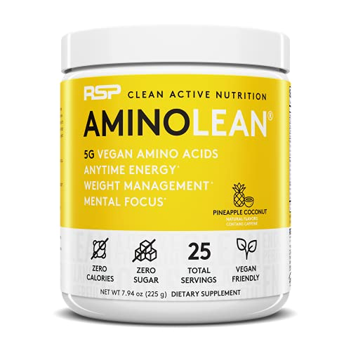 RSP Vegan AminoLean – All-in-One Natural Pre Workout, Amino Energy, Weight Management with Vegan BCAAs, Complete Vegan Preworkout Powder, Pineapple Coconut