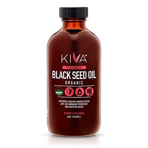 Kiva Organic Black Seed Oil | 100% Pure Cold-Pressed Nigella Sativa | Over 1.50% Thymoquinone (TQ) - Powerful Antioxidant | Raw | Vegan | Non-GMO | 8oz / 235ml Glass bottle…