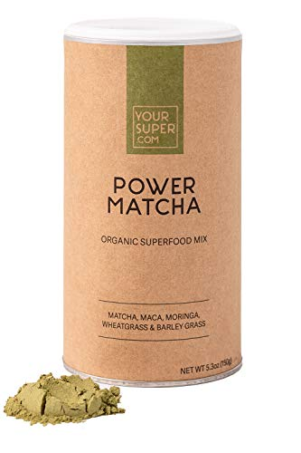 Your Super Power Matcha Powder - Superfood Brain Booster, Coffee Alternative, Natural Caffeine, Antioxidants - Plant Based, Organic Matcha, Moringa, Wheatgrass, Barley Grass, Maca Powder - 30 Servings