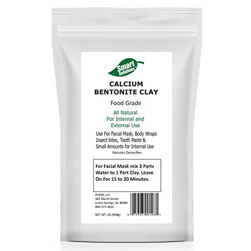 Smart Solutions Calcium Bentonite Clay Food Grade, 2 lb Pure | Natures Detoxifier All Natural for Internal and External Use | DIY Facial Treatments, Deodorants, Hair Masks