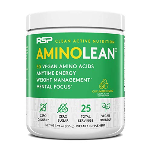 RSP Vegan AminoLean - All Natural Preworkout with Vegan BCAAs, All-In-One Amino Energy, Weight Management, Recovery, and Focus, 25 Serv, Cucumber Lemon
