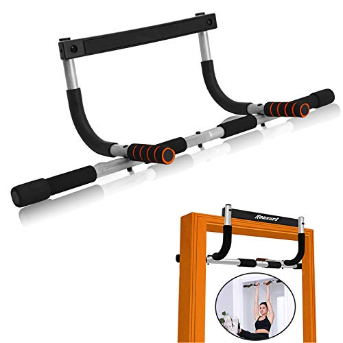 KOMSURF Pull Up Bar for Doorway, Portable Chin Up Bar Wall Mounted, Body Workout Exercise Bar for Home, Multi-Grip Fitness Bar No Screw