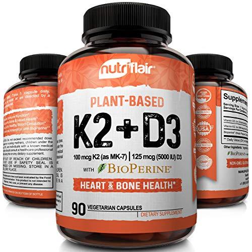 NutriFlair Plant-Based Vitamin K2 (as Mk7) with D3 (5000iu/125mcg) Vitamins Plus BioPerine, 90 Capsules - Heart & Bone Health