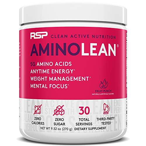 RSP AminoLean - All-in-One Pre Workout, Amino Energy, Weight Management Supplement with Amino Acids, Complete Preworkout Energy for Men & Women, Fruit Punch