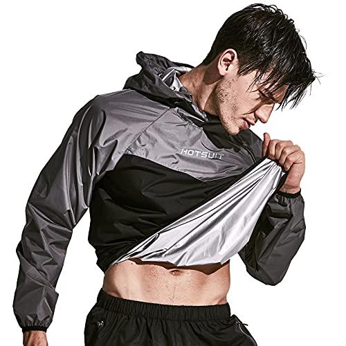HOTSUIT Sauna Suit for Men Sweat Sauna Jacket Pant Gym Workout Sweat Suits, Gray, XXL