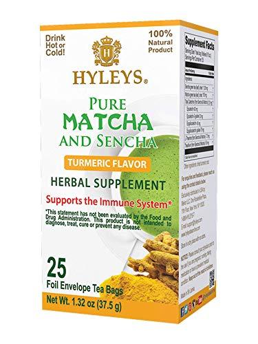 Hyleys Wellness Japanese Pure Matcha Green Tea with Turmeric - 25 Tea Bags (100% Natural, Sugar Free, Gluten Free and Non-GMO)
