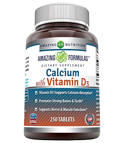 Amazing Formulas Calcium with Vitamin D3 Tablets - Supports Calcium Absorption* -Promotes Strong Bones & Teeth* -Supports Nerve & Muscle Functions* (250 Count (Pack of 1))