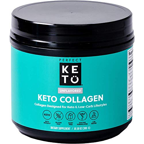 Perfect Keto Collagen Protein Powder with MCT Oil - Grassfed, GF, Multi Supplement, Best for Ketogenic Diets, Use as Keto Creamer, in Coffee and Shakes for Women & Men - Unflavored