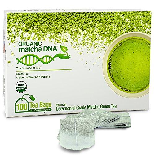 Matcha Teabags MatchaDNA Certified Organic Matcha Green Tea - 100 Teabags